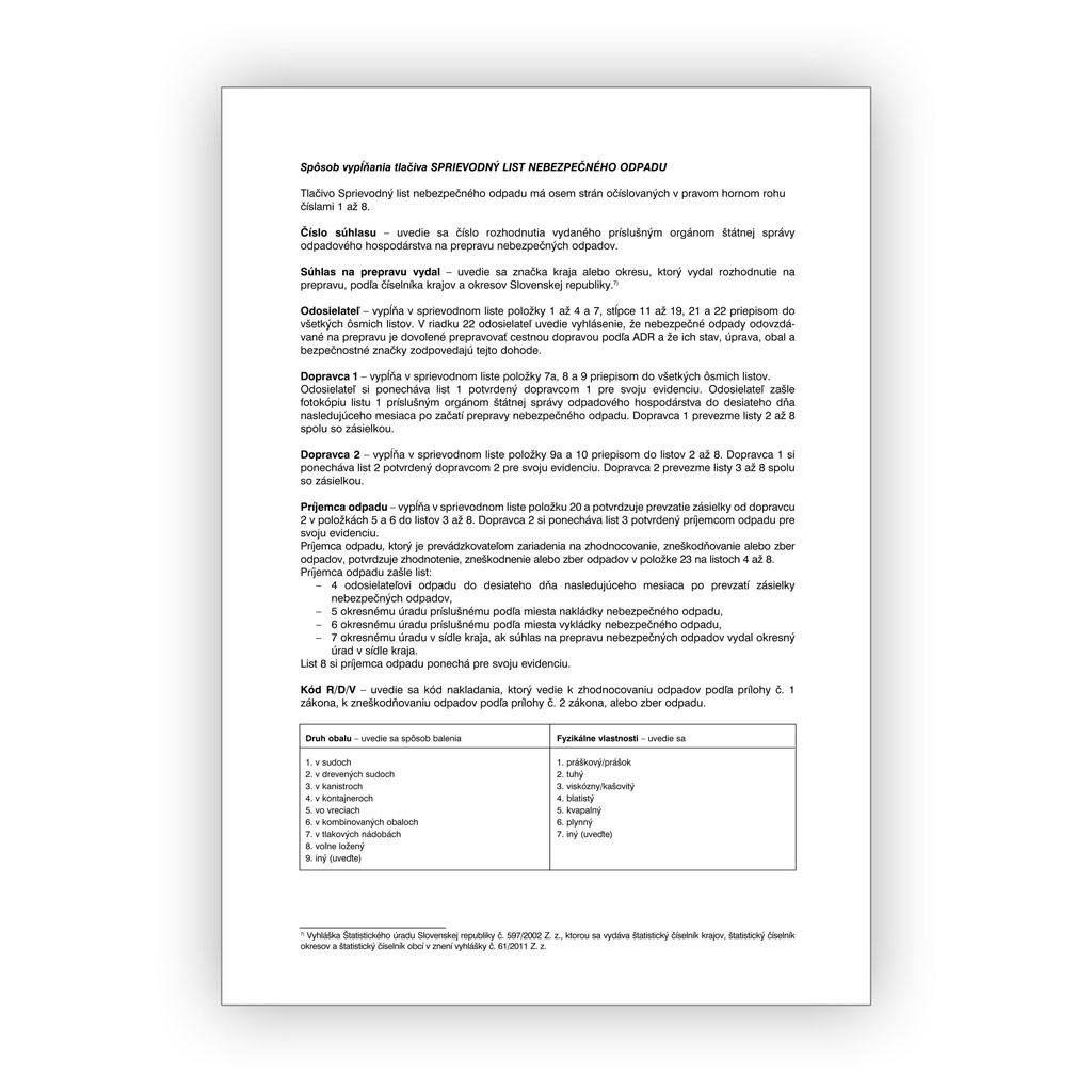 Sprievodný list nebezpečného odpadu (samopriepis)