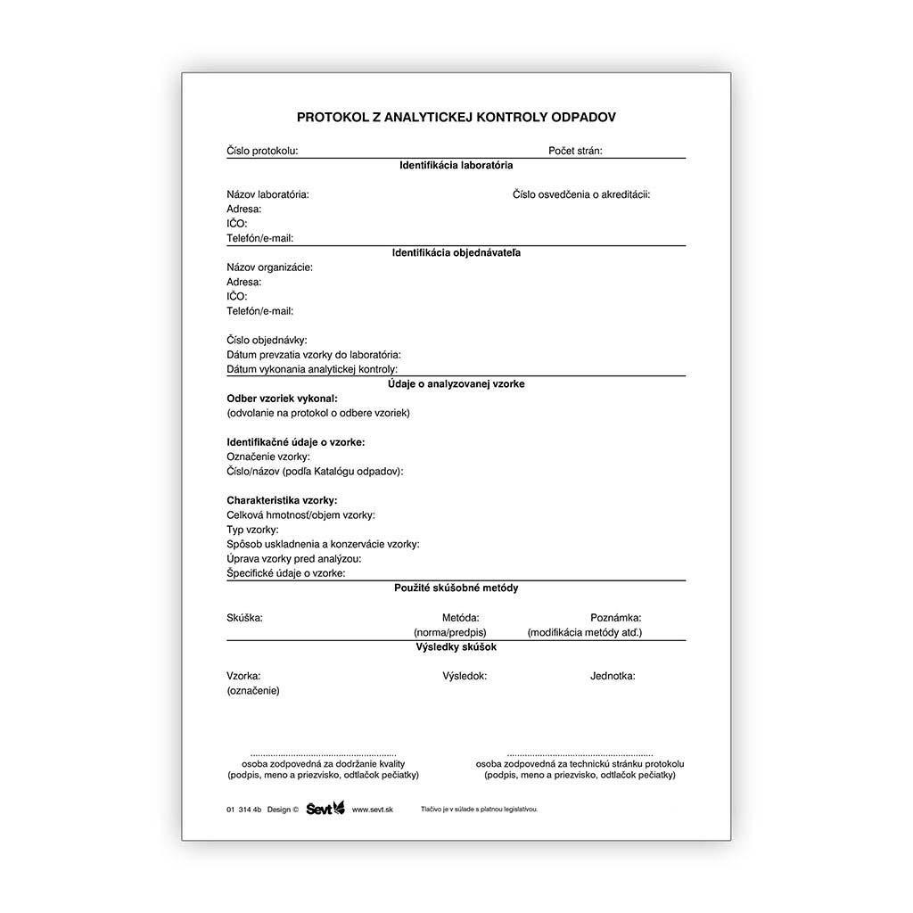 Protokol z analytickej kontroly odpadov / 20ks