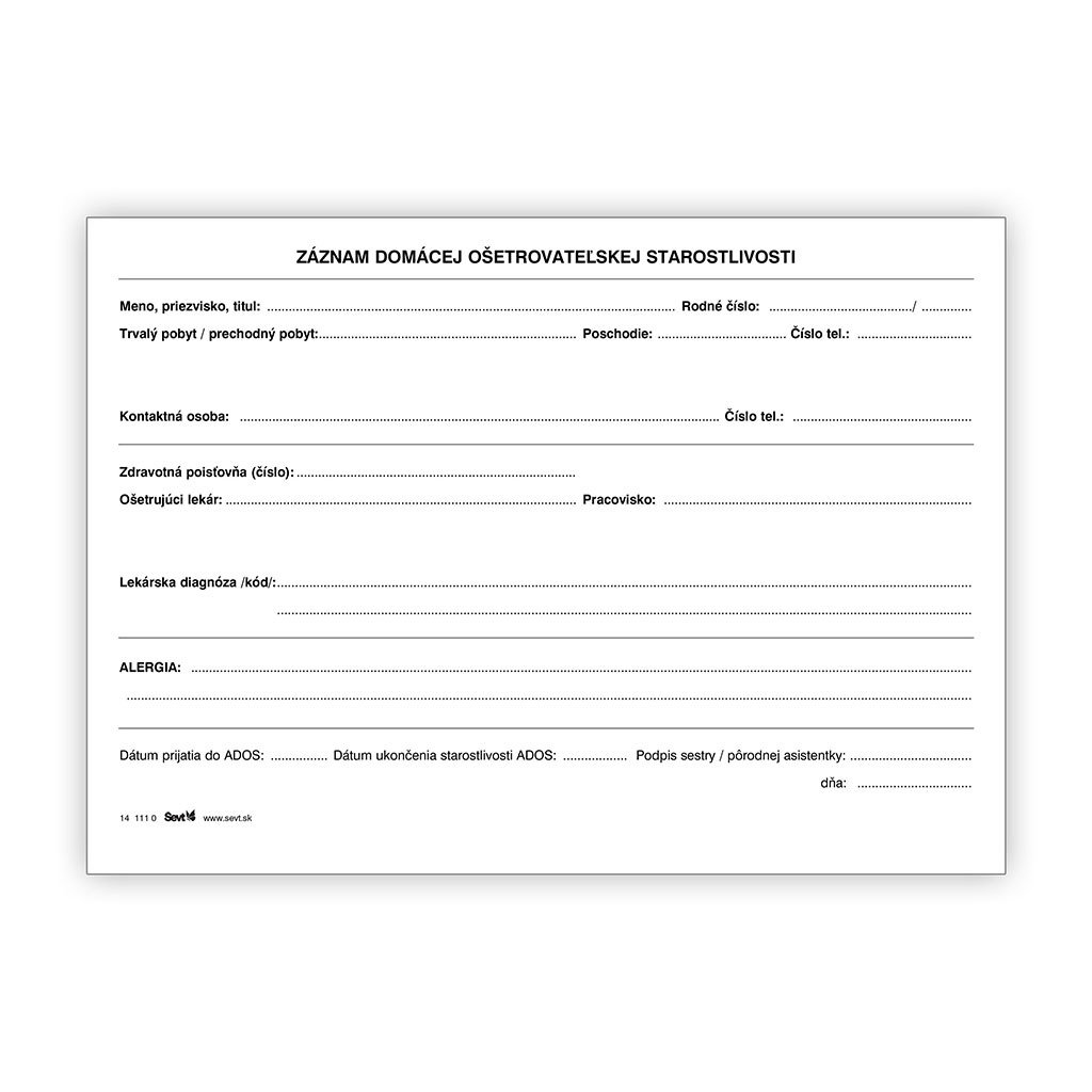 Záznam domácej ošetrovateľskej starostlivosti