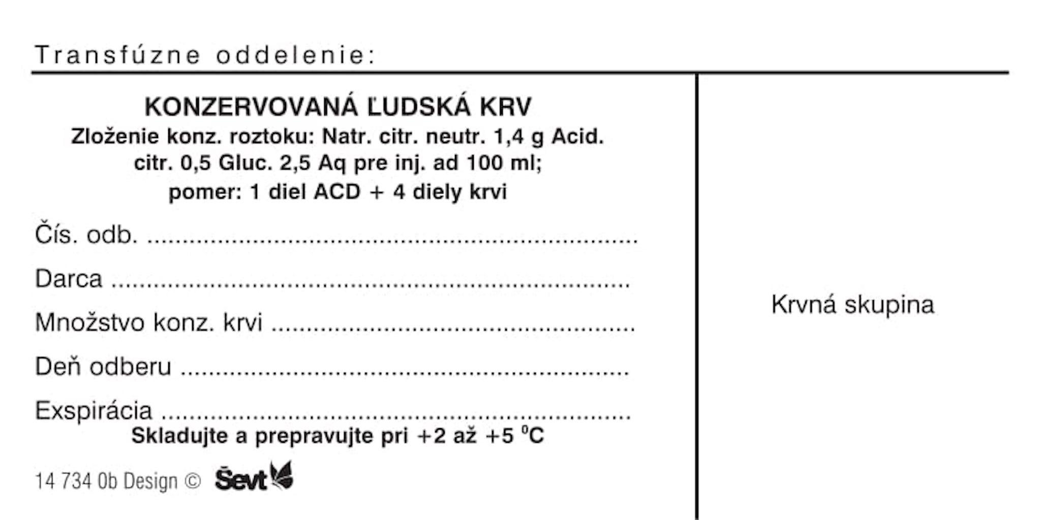 Samolepiaci štítok Konzervovaná ľudská krv - biela / 500 ks