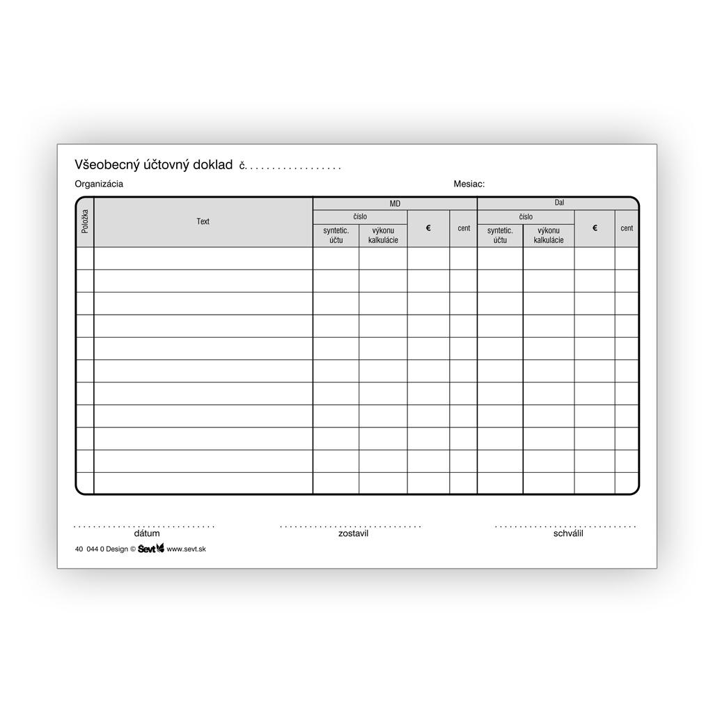 Všeobecný účtovný doklad