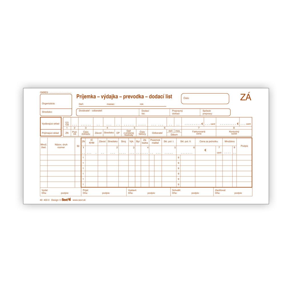 Príjemka/Výdajka/Prevodka/Dodací list 2/3 A4 (samopriepis)