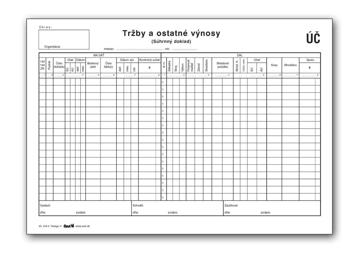 Tržby a ostatné výnosy (súhrnný doklad)