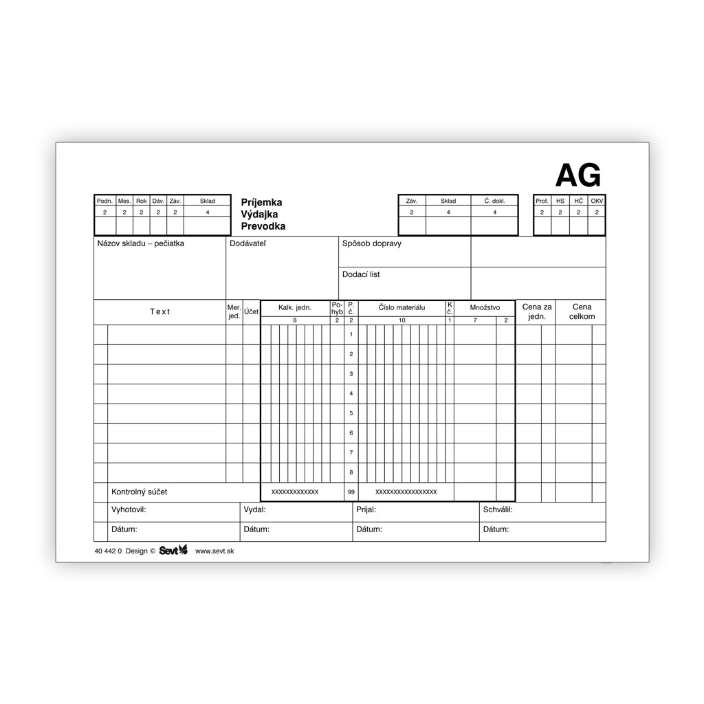 Príjemka - Výdajka - Prevodka AG (samopriepis)