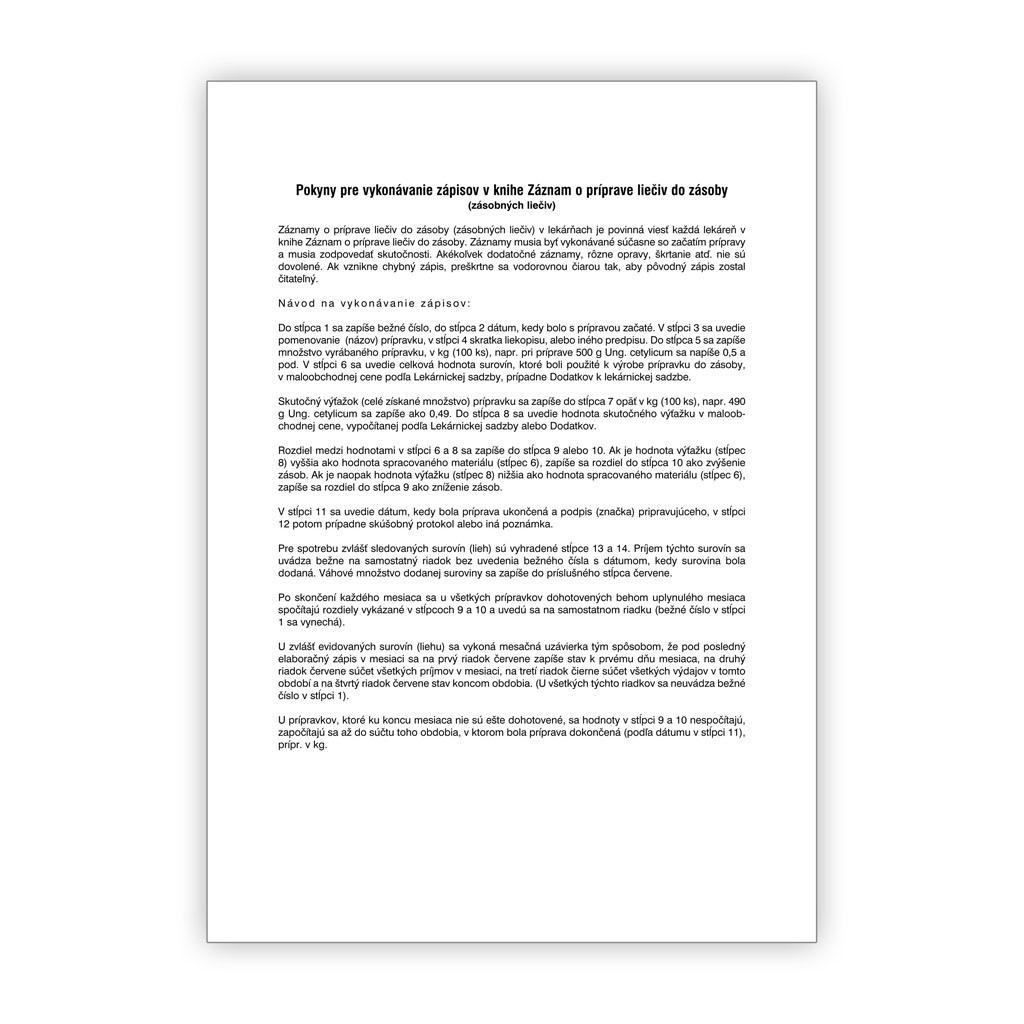 Záznam o príprave liečiv do zásoby (Elaboračná kniha)