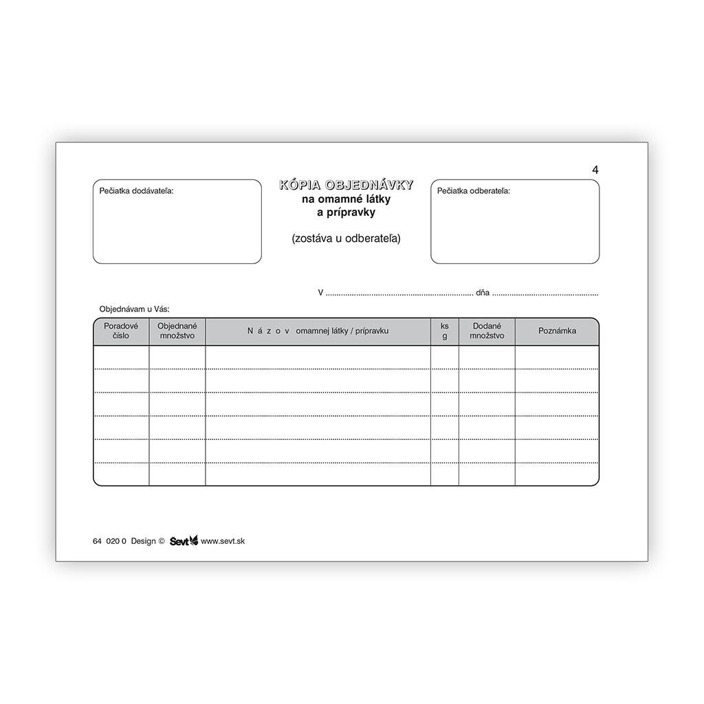 Objednávka omamných látok a prípravkov (samopriepis)