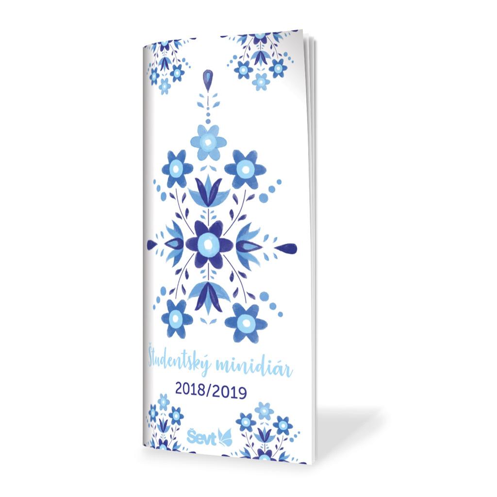 Študentský minidiár ŠEVT 2018/19 - ľudový ornament modrý