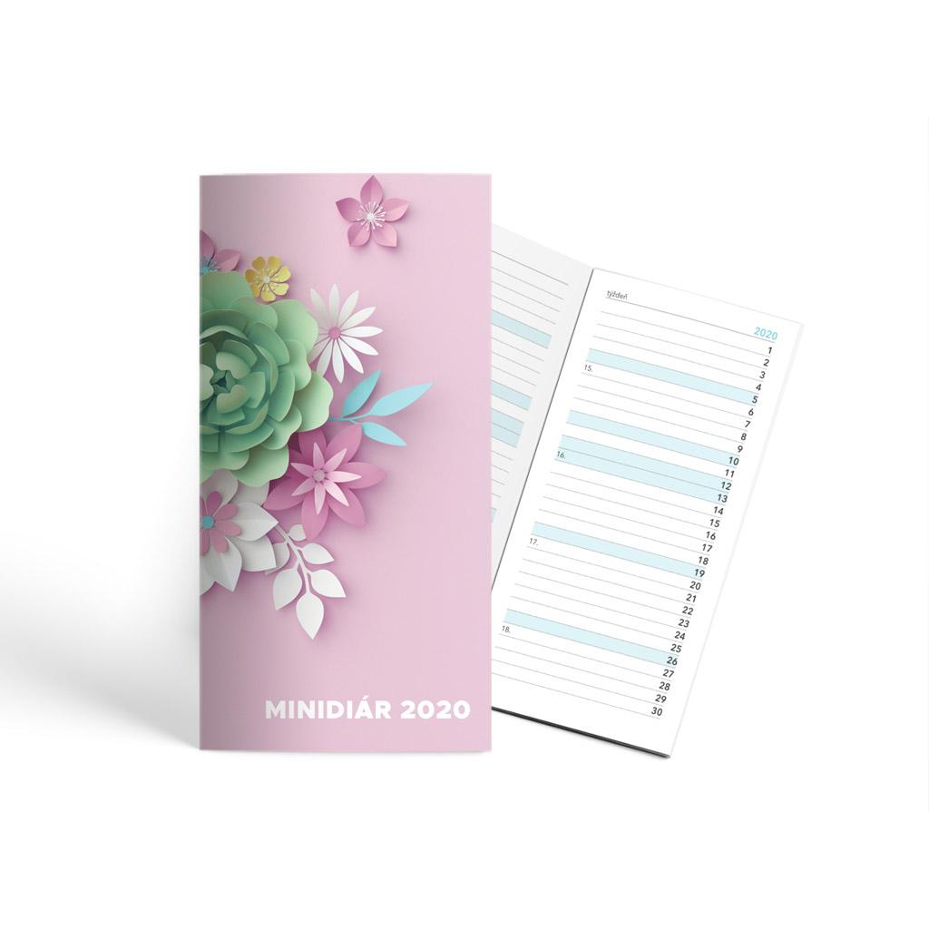 Minidiár ŠEVT 2020, mesač. - 3D kvety ružové