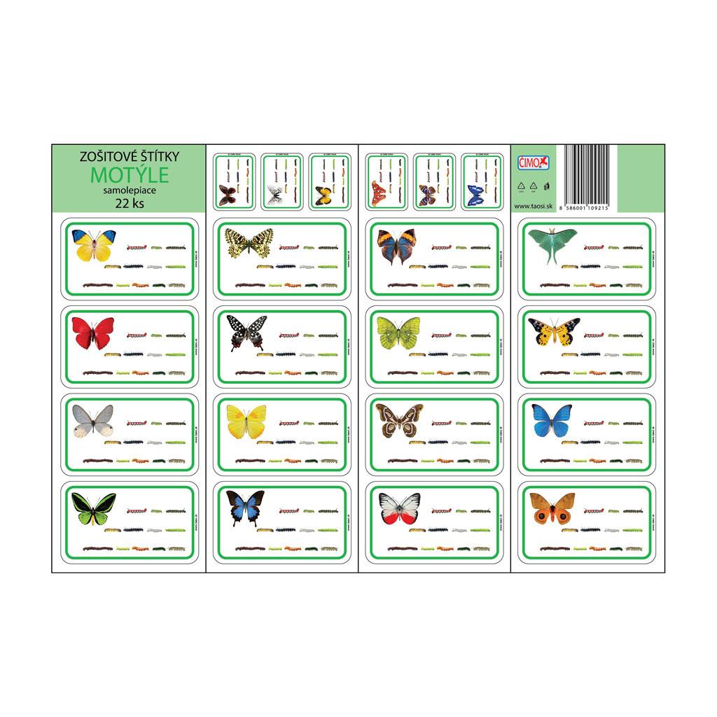 Zošitové štítky - motýle (22 ks)