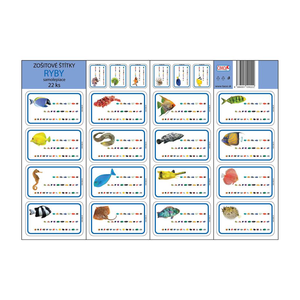 Zošitové štítky - ryby (22 ks)