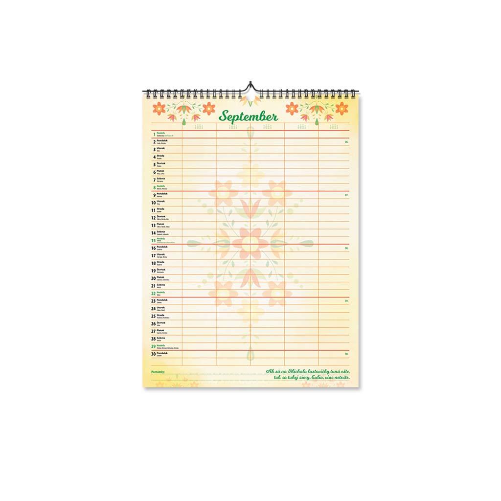 Plánovací kalendár 2019/2020, ľudový motív (297x420mm)
