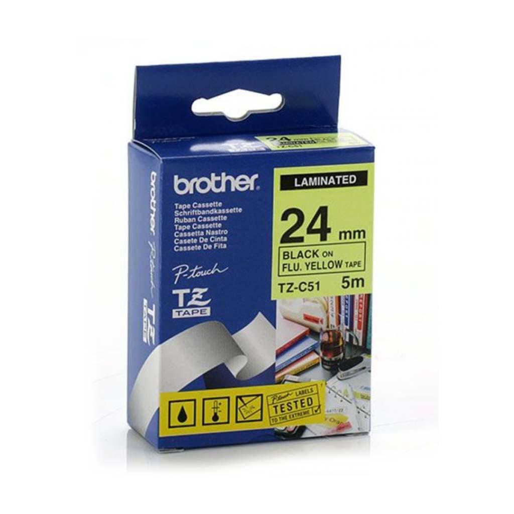 Popisovacia páska Brother TZ-C51 čierny text / fluorescentná žltá páska, 24 mm, 5m
