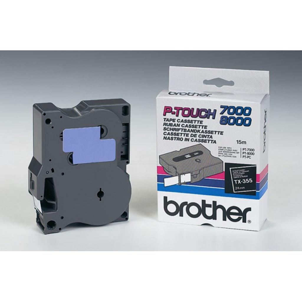 Popisovacia páska Brother TX-355 biely text / čierna páska, 24mm, 15m