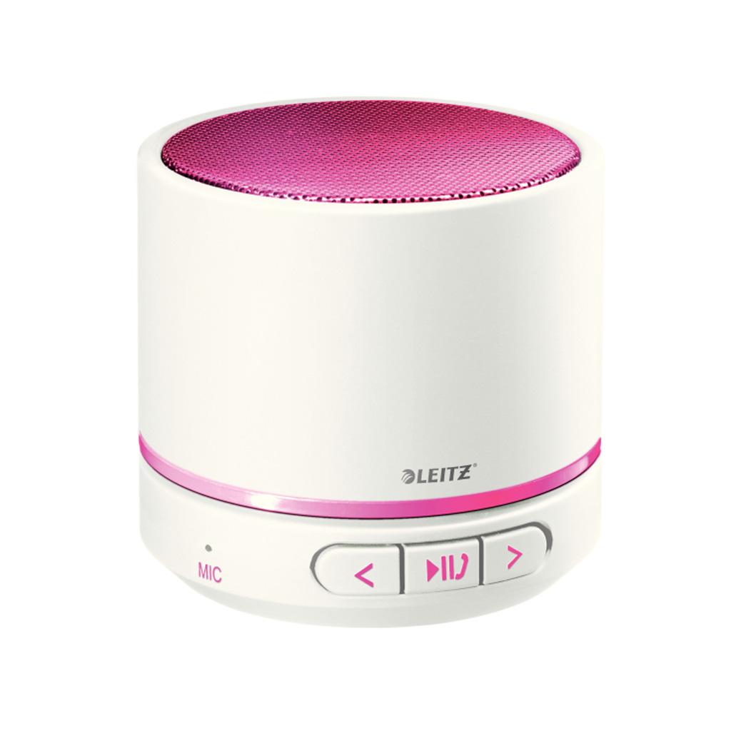 Leitz WOW Prenosný Mini Bluetooth reproduktor s mikrofónom, metalická ružová