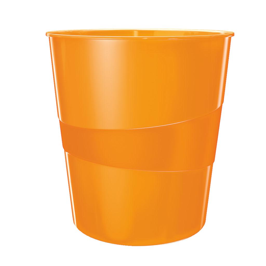 Leitz WOW Odpadkový kôš, 15l - metalická oranžová