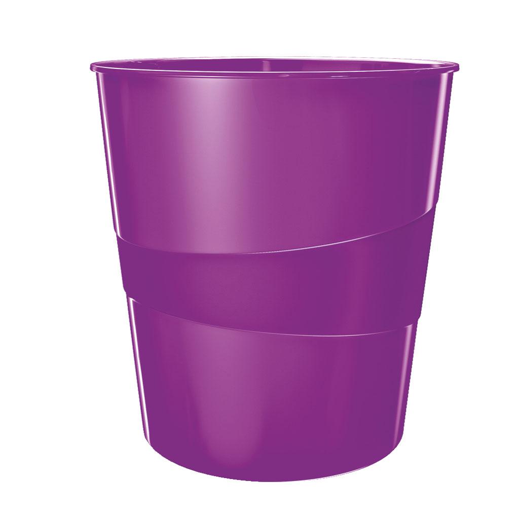 Leitz WOW Odpadkový kôš, 15l - metalická fialová
