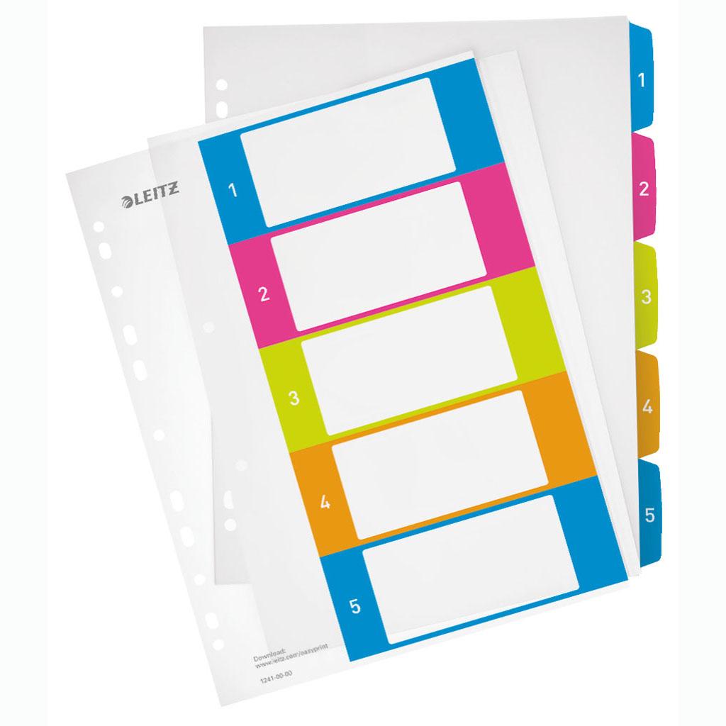 Leitz WOW Celoplastový register A4 maxi, popisovateľný so štítkami 1-5