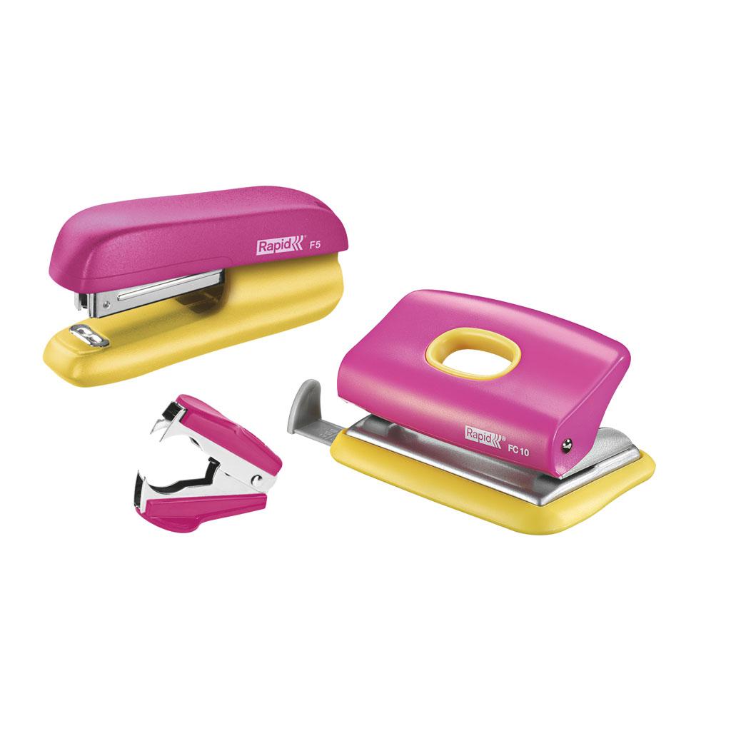 Rapid Set Minizošívačka F5 + Minidierovač FC10, 10listov + odsponkovač - pastelovo ružová/žltá
