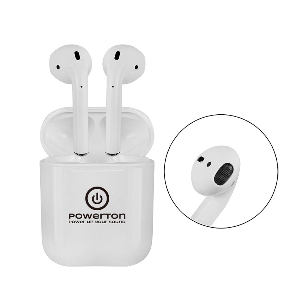 Bezdrôtové Bluetooth slúchadlá Powerton WPBTE01, s nabíjacou krabičkou, mikrofón, biele, Airpods style