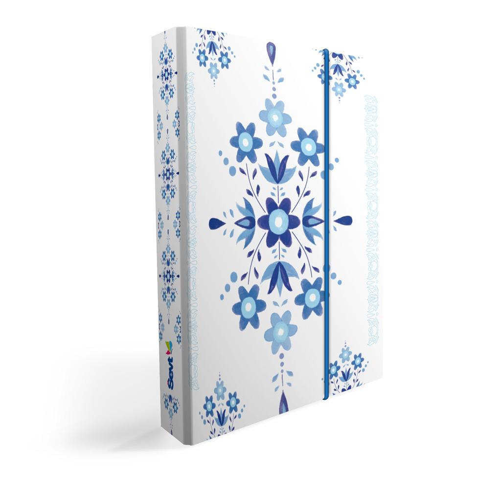 Dosky s boxom A4 lamino - ľudový ornament modrý