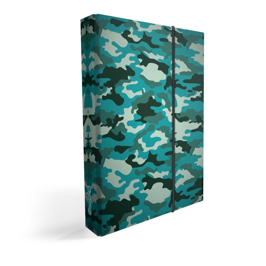 Dosky s boxom A4 lamino - army tyrkys