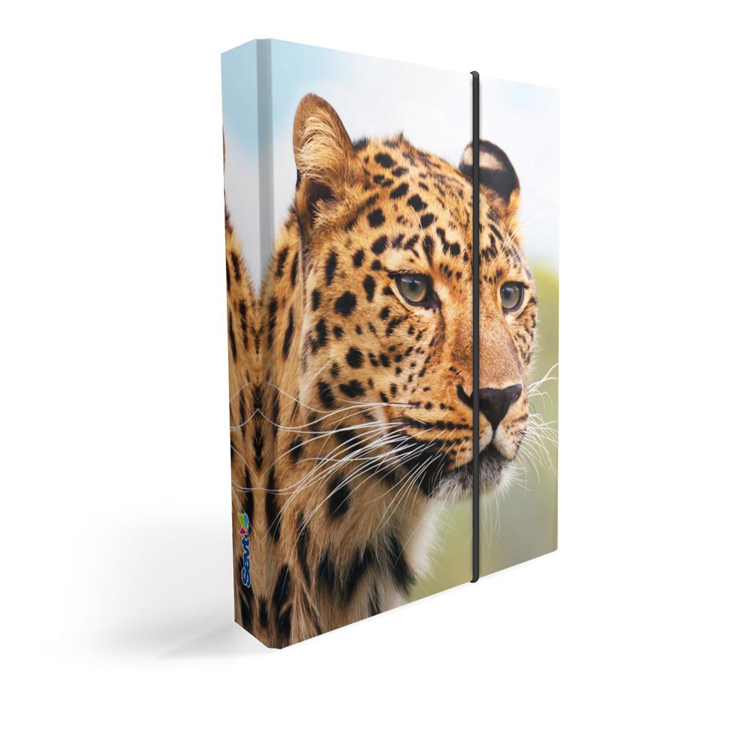 Dosky s boxom A5 lamino - leopard