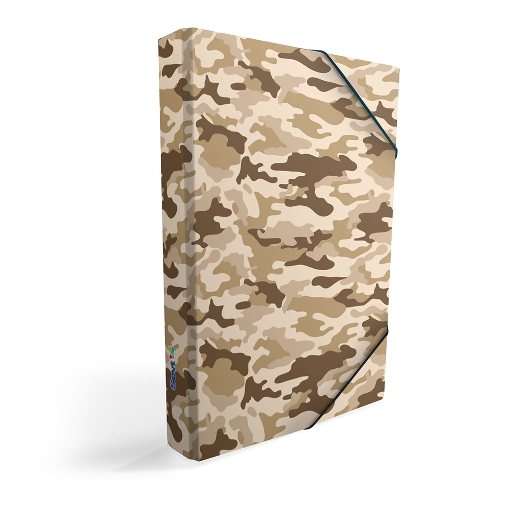 Dosky s boxom A5 lamino - Army piesková 2019