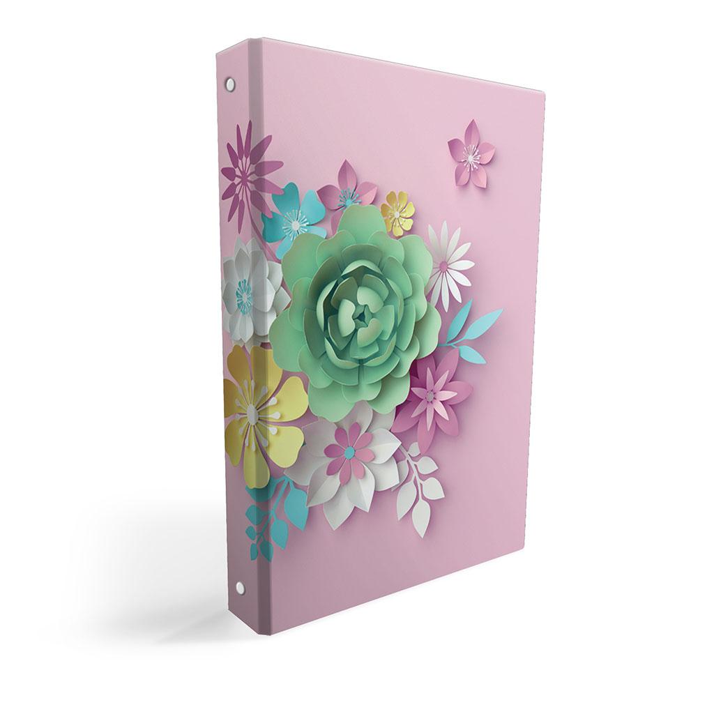 Karisblok 4-krúž., A4, 3,5 cm, lamino - 3D kvety ružové 2019