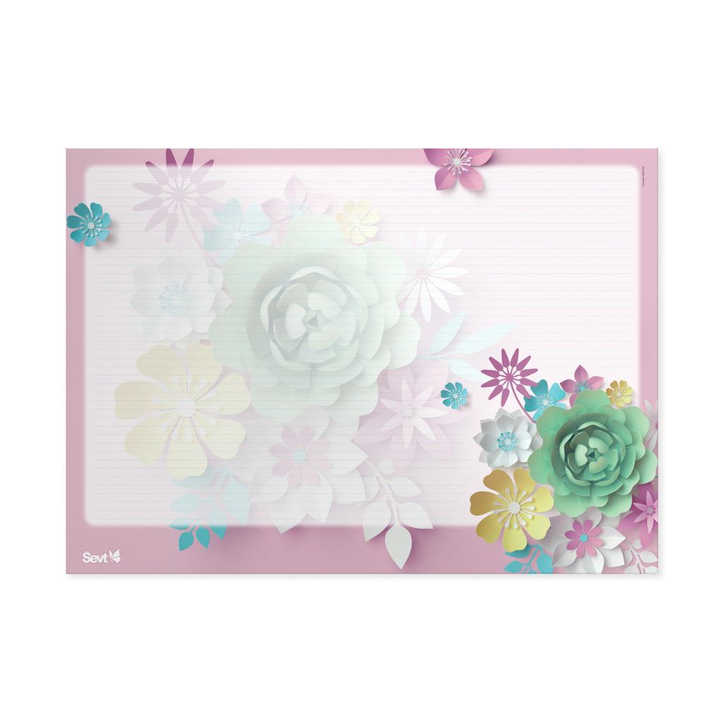 Podložka na stôl ŠEVT s plast. záložkou - 3D kvety ružové