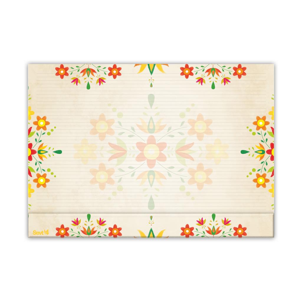 Podložka na stôl ŠEVT s plast. záložkou - ľudový ornament žltý