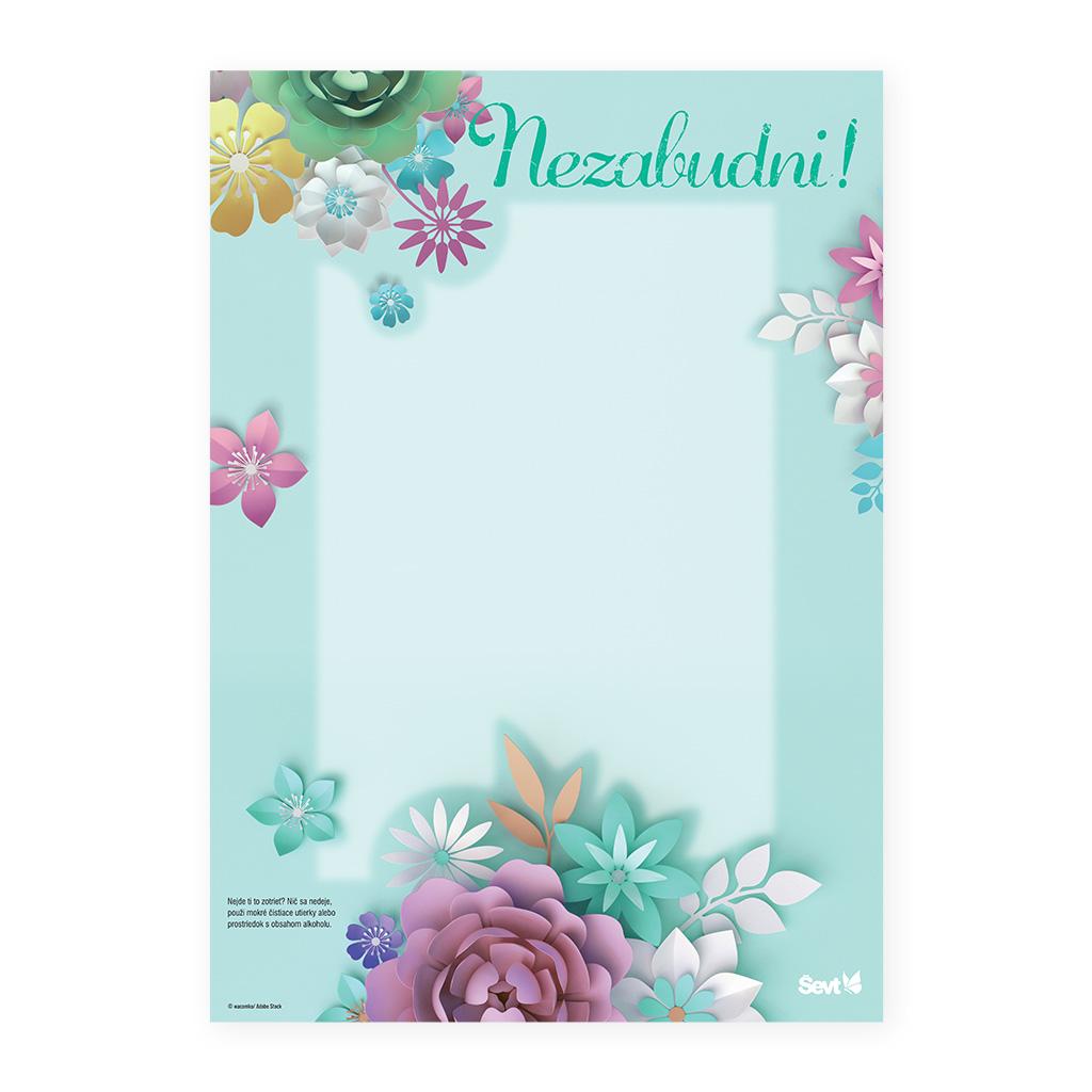 CREO list lamino NEZABUDNI ! - 3D Kvety zelené / A3