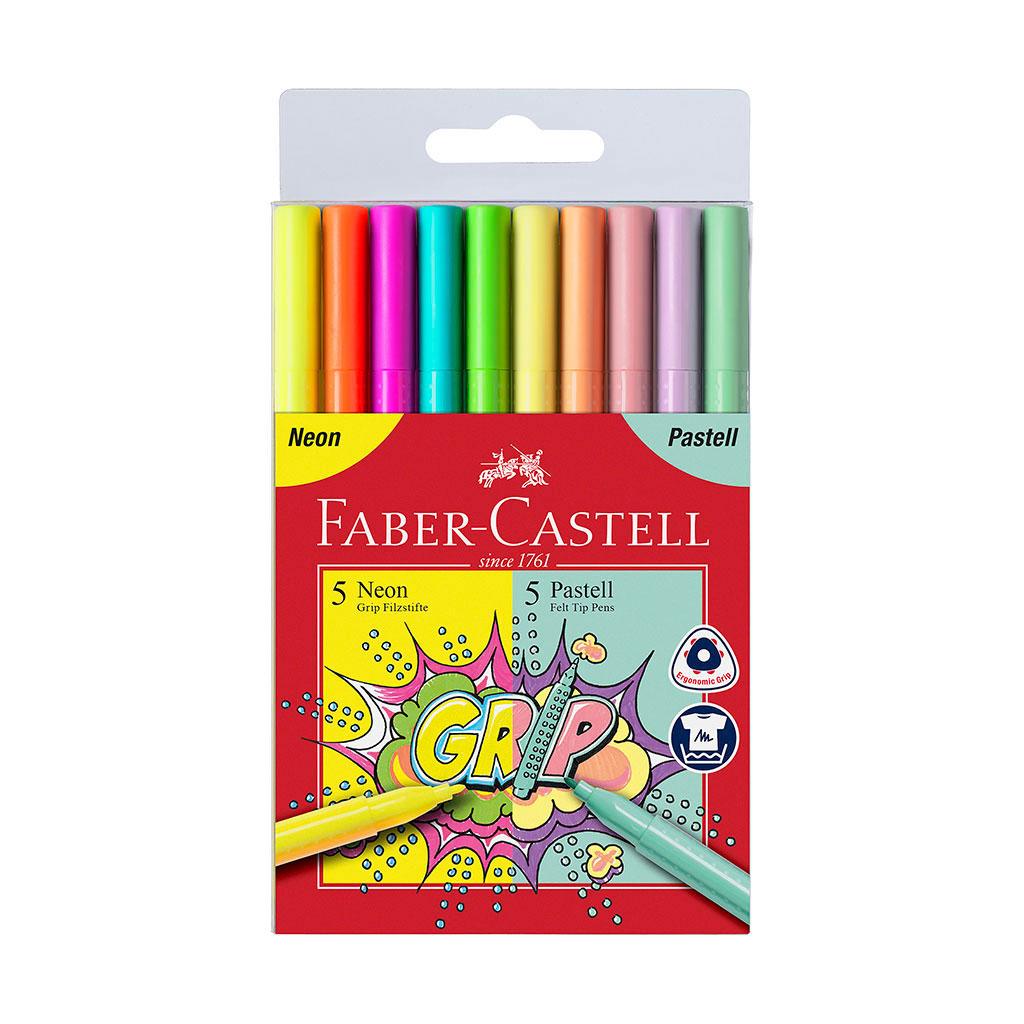 Faber Castell Fixky GRIP neónové + pastelové / 10 ks