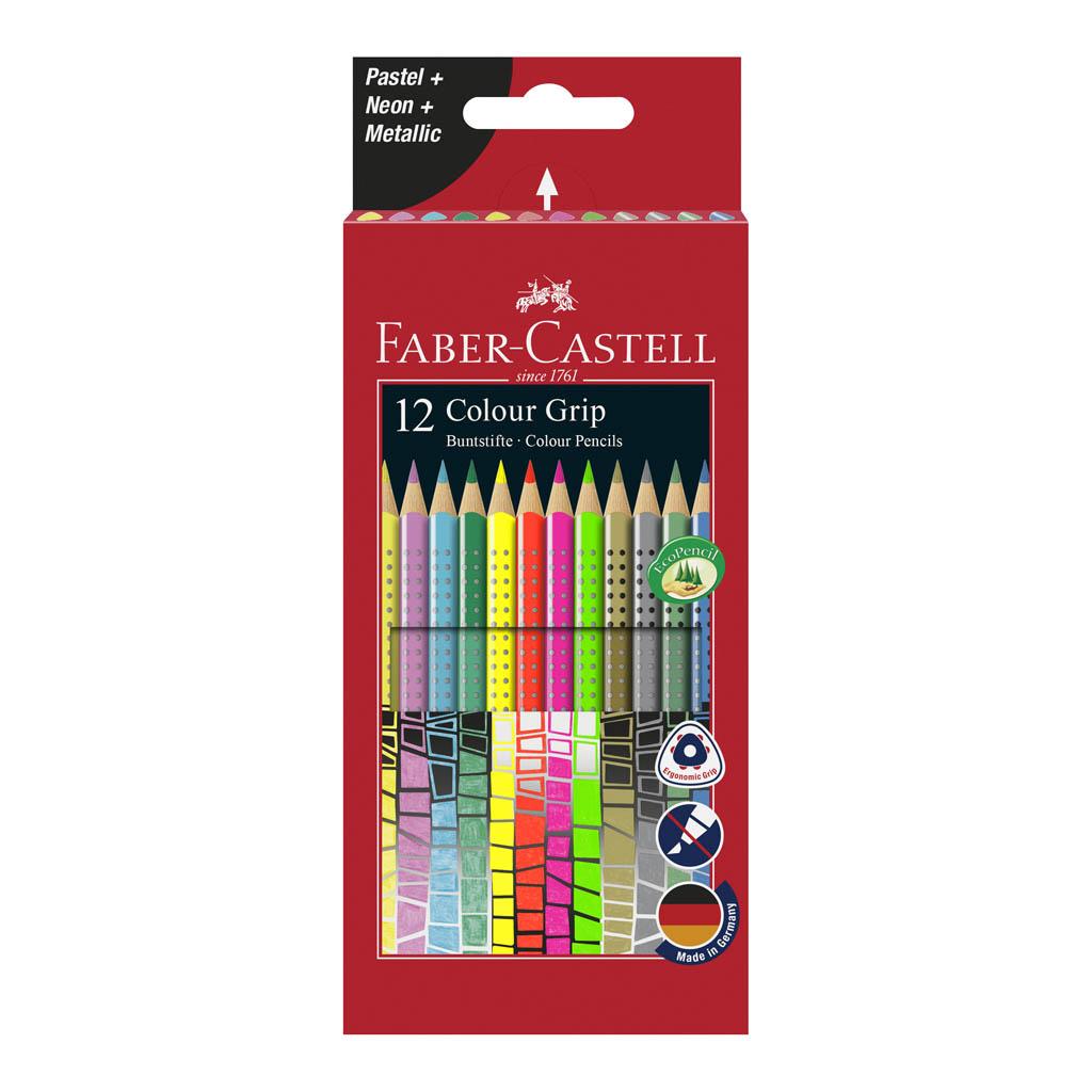 Faber Castell Farbičky GRIP metalické/pastelové/neónové / 12 ks