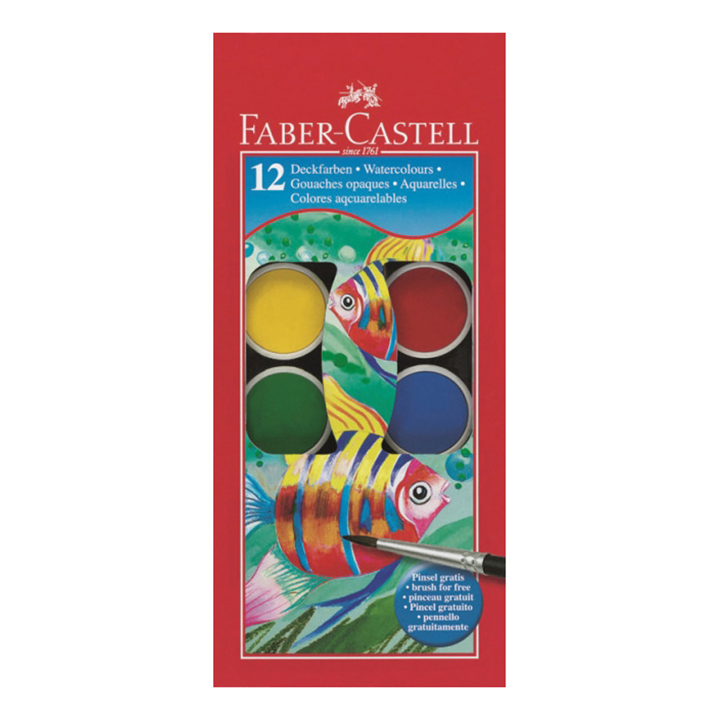 Faber Castell Farby vodové/ 12 farieb + štetec, priemer 30 mm
