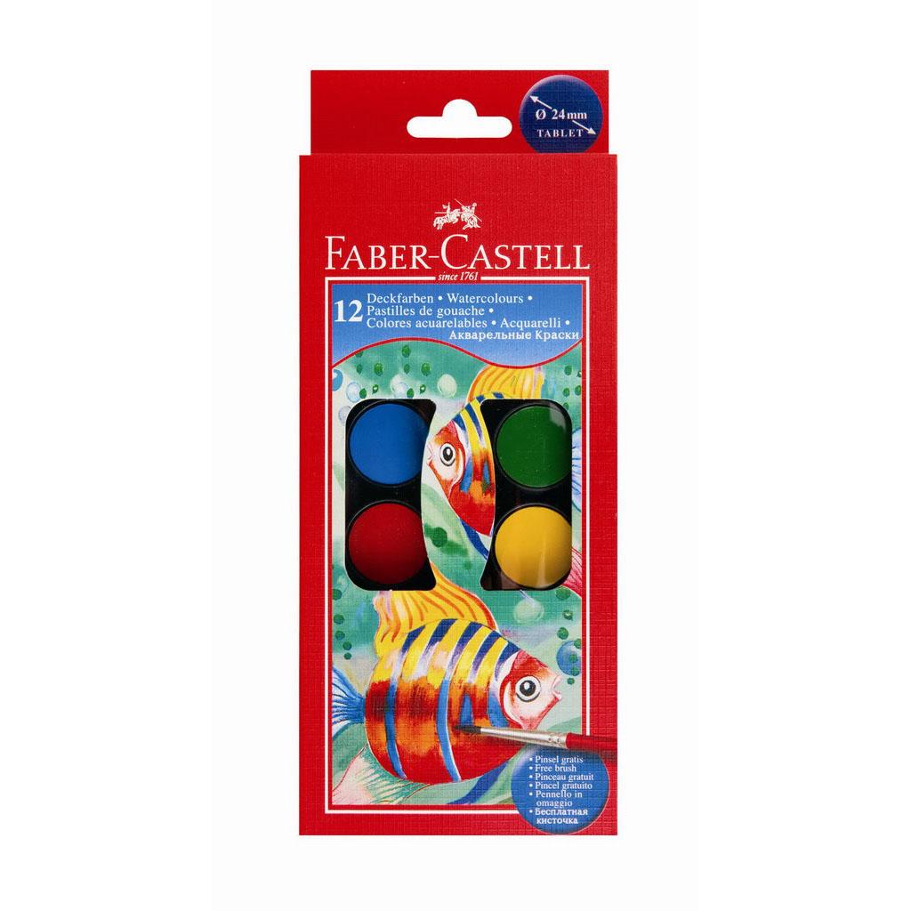 Faber Castell Farby vodové/ 12 farieb + štetec , priemer 24 mm