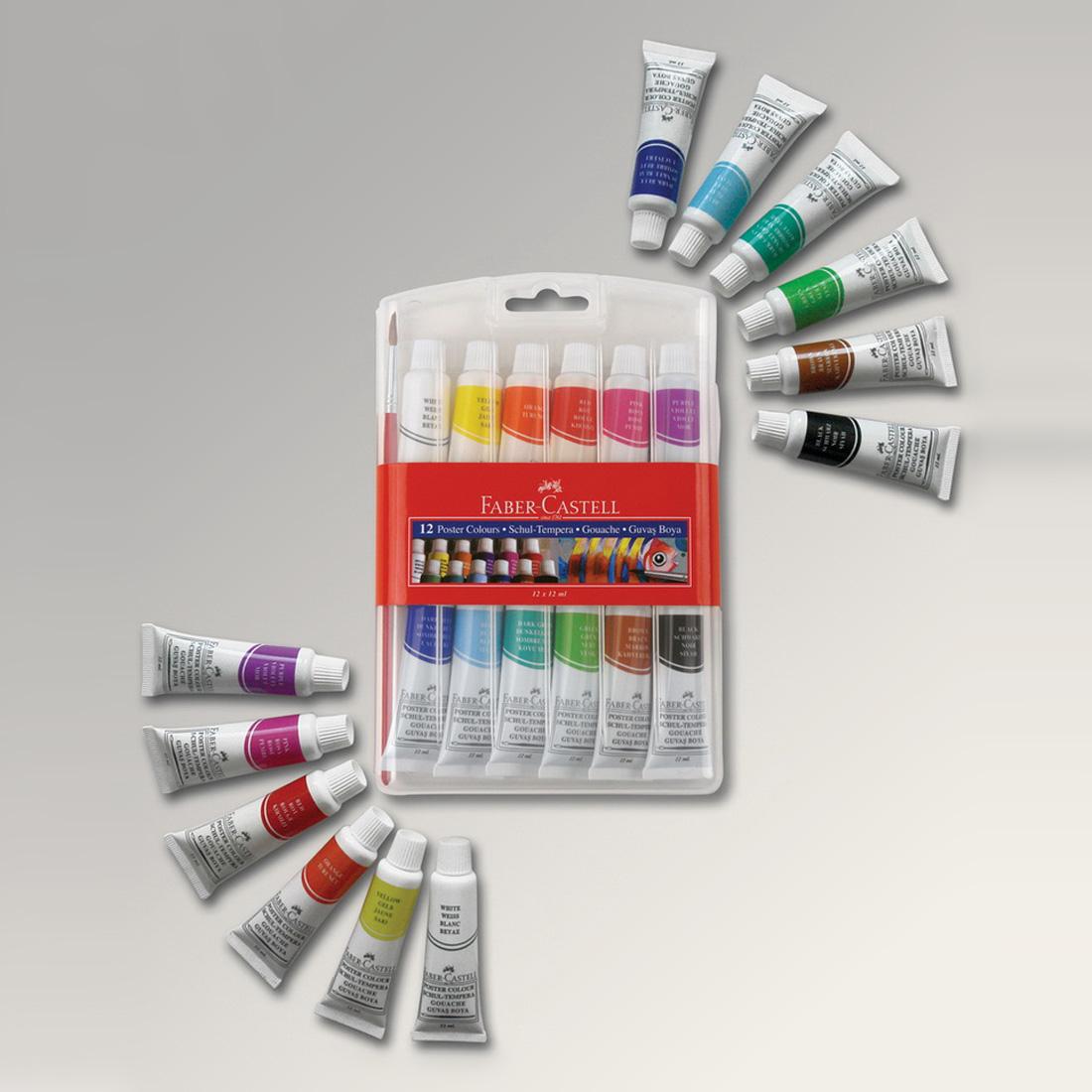 Faber Castell Farby temperové v tube 12ml / 12 farieb + štetec