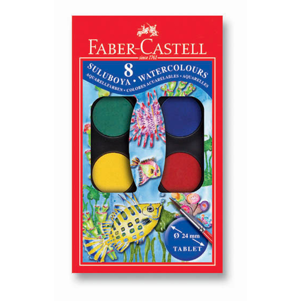 Faber Castell Farby vodové / 8 farieb, priemer 24 mm