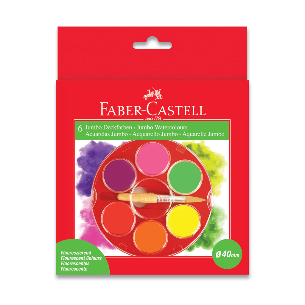 Faber Castell Farby vodové Jumbo Fluo / 6 farieb + štetec, priemer 40 mm