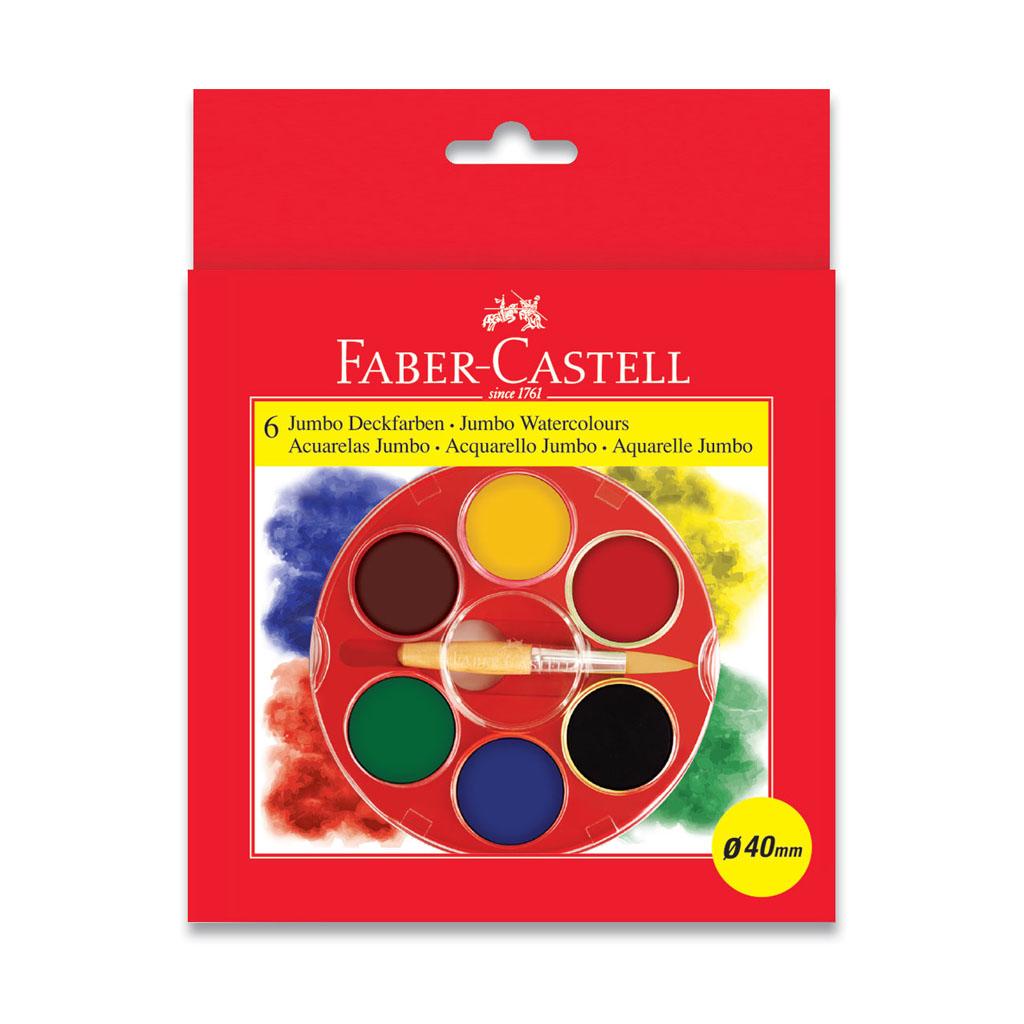 Faber Castell Farby vodové Jumbo Klasik / 6 farieb + štetec, priemer 40 mm