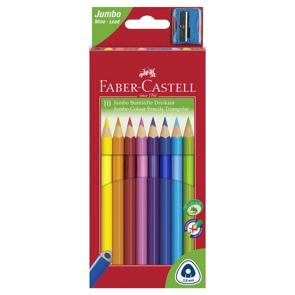 Faber Castell Farbičky trojhranné Junior / 10ks so strúhadlom