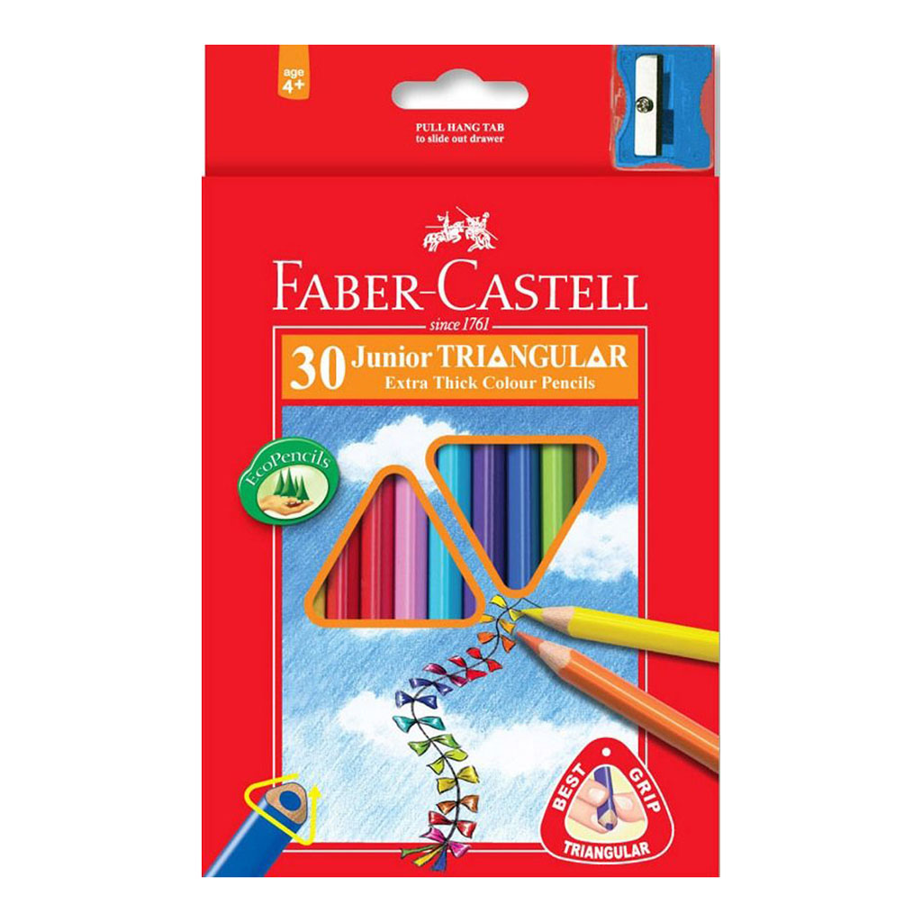 Faber Castell Farbičky trojhranné Junior / 30ks so strúhadlom