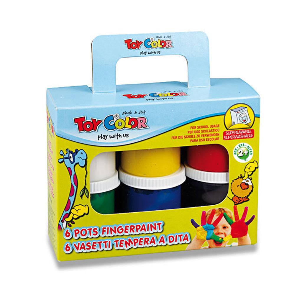 Prstové farby PASUTO Toy Color, 6 farieb, 80ml
