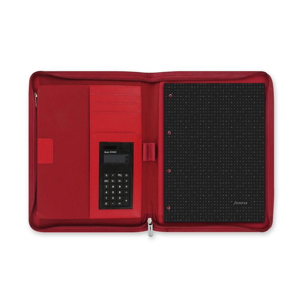 Portfólio so zip. a kalkulačkou Filofax Microfiber A4 / 829842 - červené