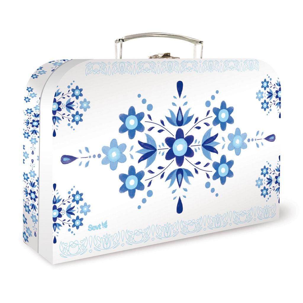 Detský kufrík veľký lamino - ľudový ornament modrý