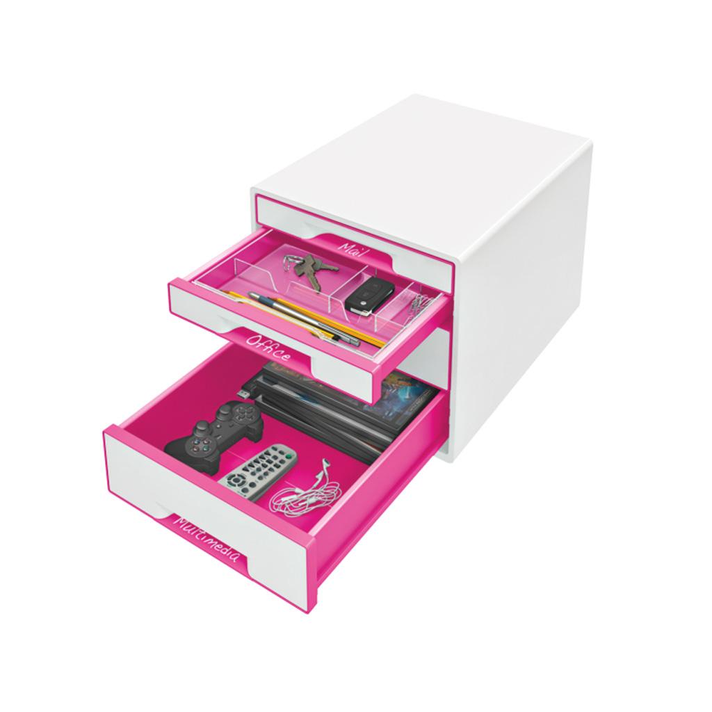 Leitz WOW Box so 4 zásuvkami, metalická ružová