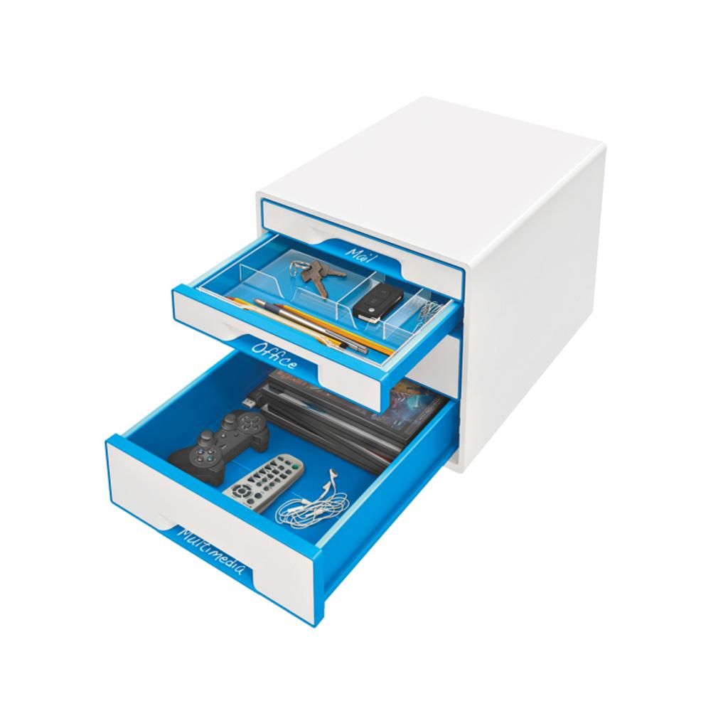 Leitz WOW Box so 4 zásuvkami, metalická modrá