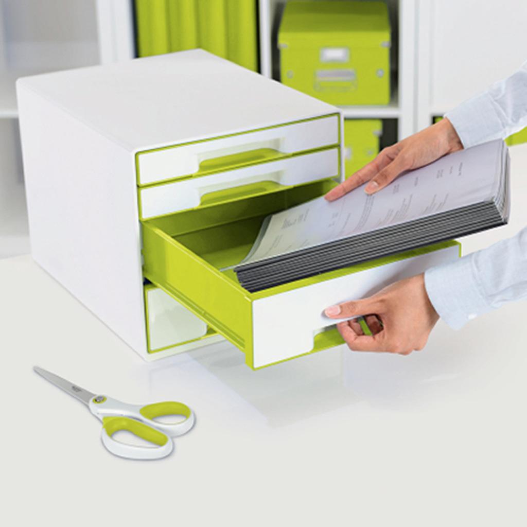 Leitz WOW Box so 4 zasuvkami, metalická zelená