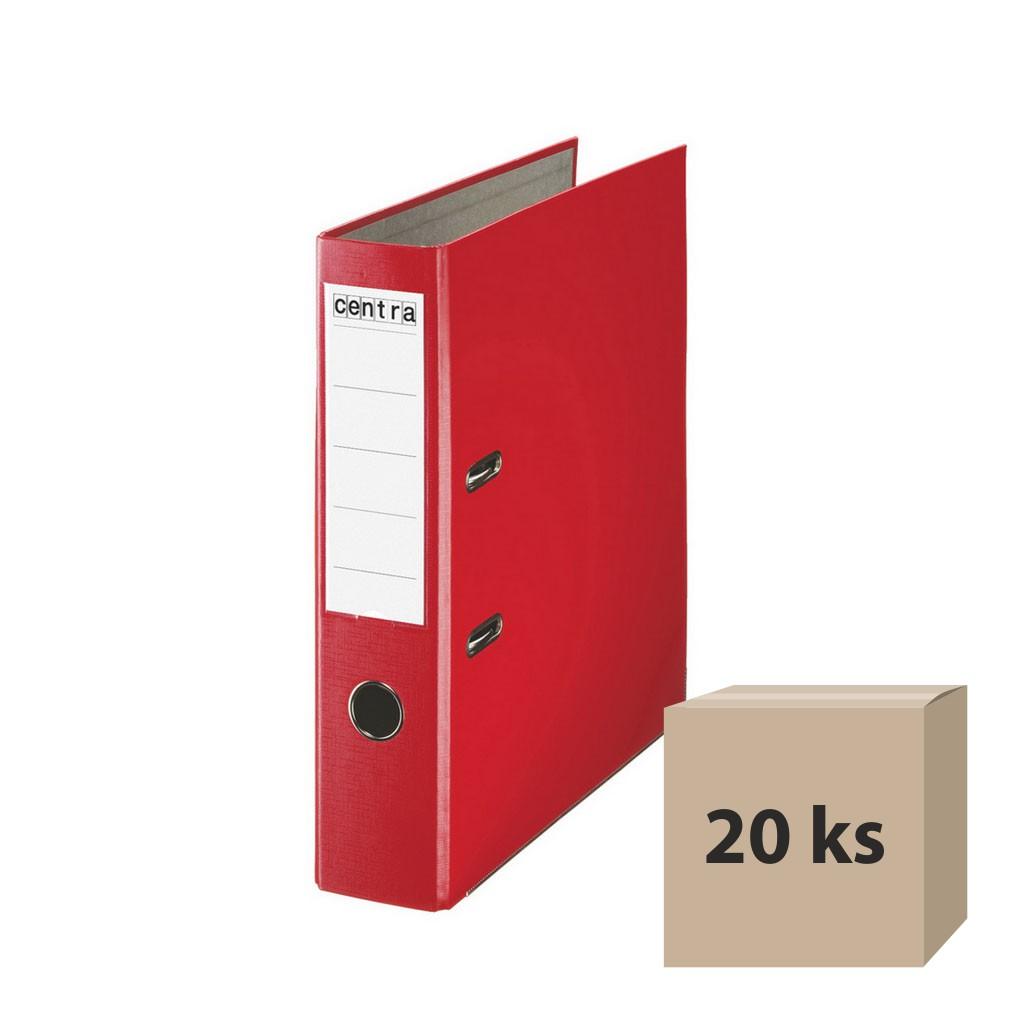 Zakladač pákový A4 7,5 cm PP - červená, 20 ks