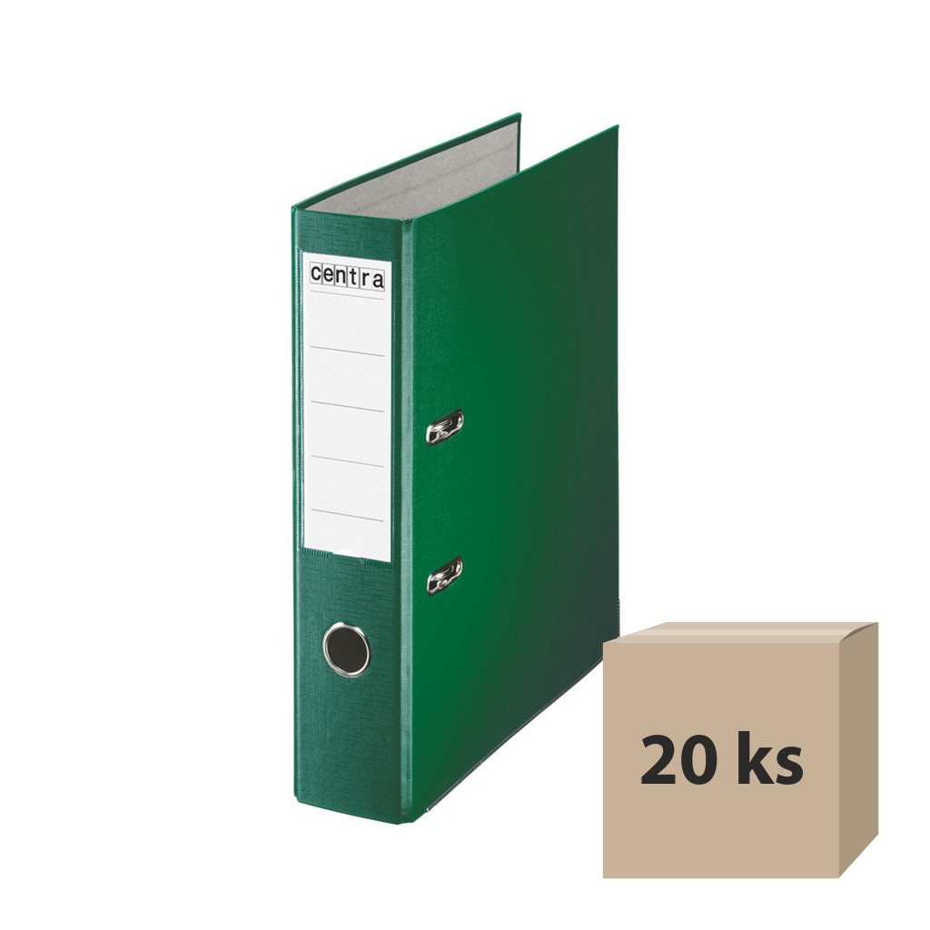 Zakladač pákový A4 7,5 cm PP - zelená, 20 ks
