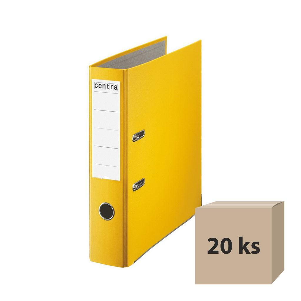 Zakladač pákový A4 7,5 cm PP - žltá, 20 ks